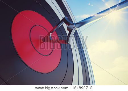 Target hit in the middle by arrow. 3D Rendering