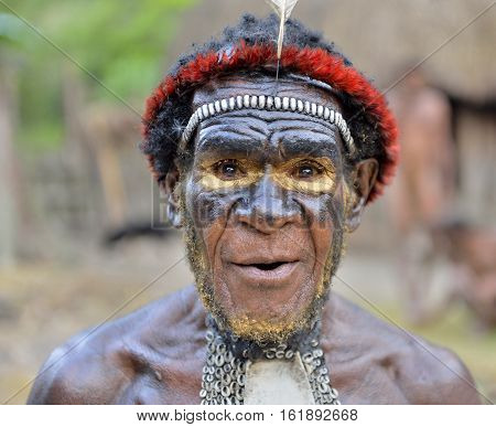 Dani Village, Wamena, Irian Jaya, New Guinea, Indonesia, 15 May 2016: Close Up Portrait Of Yali Mabe
