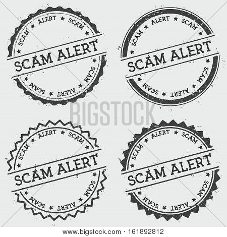 Scam Alert Insignia Stamp Isolated On White Background. Grunge Round Hipster Seal With Text, Ink Tex