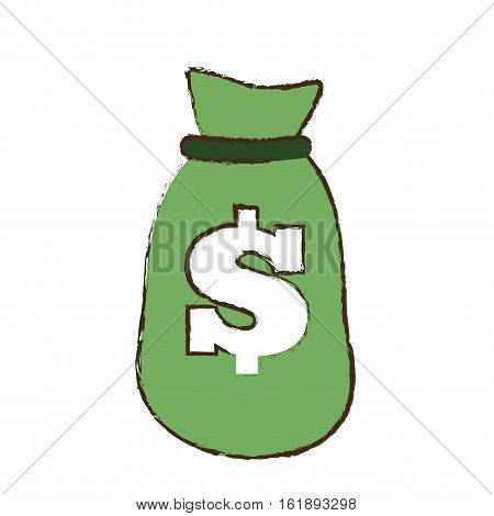 drawing green bag money dollar cash vector illustration eps 10
