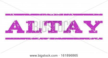 Altay watermark stamp. Text tag between horizontal parallel lines with grunge design style. Rubber seal stamp with dust texture. Vector violet color ink imprint on a white background.
