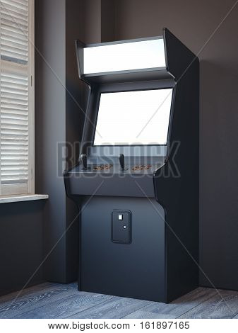 Old gaming machine in a bright room with windows. 3d rendering