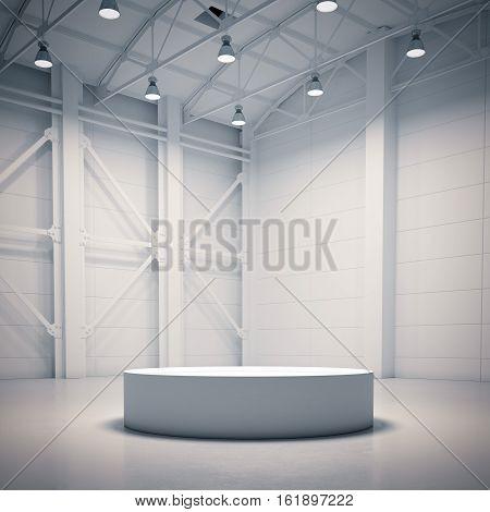 Empty white showcase in bright hangar interior. 3d rendering