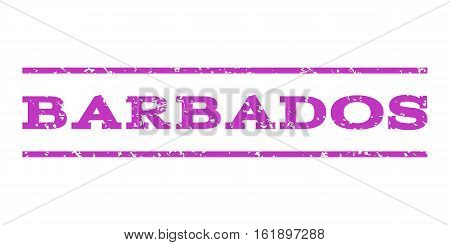 Barbados watermark stamp. Text tag between horizontal parallel lines with grunge design style. Rubber seal stamp with unclean texture. Vector violet color ink imprint on a white background.