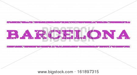 Barcelona watermark stamp. Text caption between horizontal parallel lines with grunge design style. Rubber seal stamp with dirty texture. Vector violet color ink imprint on a white background.