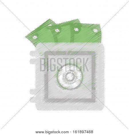 hand draw save box money cash bills color vector illustration eps 10