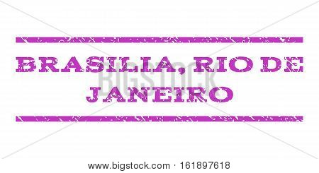 Brasilia, Rio De Janeiro watermark stamp. Text tag between horizontal parallel lines with grunge design style. Rubber seal stamp with unclean texture.