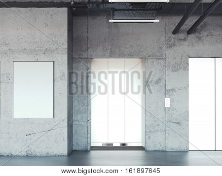Elevator with closed metal doors in concrete interior. 3d rendering
