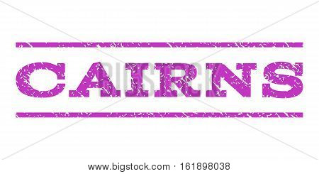 Cairns watermark stamp. Text tag between horizontal parallel lines with grunge design style. Rubber seal stamp with dirty texture. Vector violet color ink imprint on a white background.