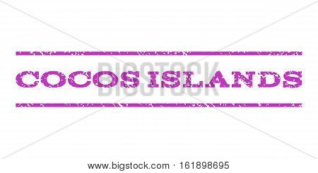 Cocos Islands watermark stamp. Text caption between horizontal parallel lines with grunge design style. Rubber seal stamp with dirty texture. Vector violet color ink imprint on a white background.