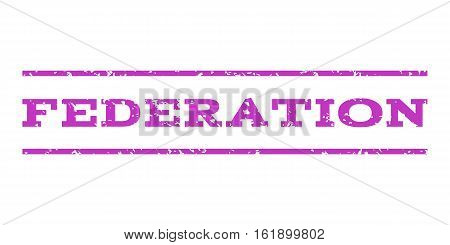 Federation watermark stamp. Text caption between horizontal parallel lines with grunge design style. Rubber seal stamp with unclean texture. Vector violet color ink imprint on a white background.