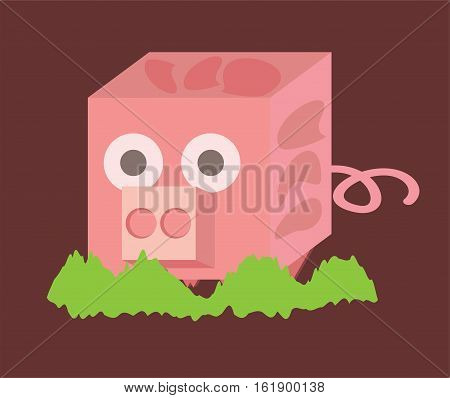 pink piggy with chubby and funny shape cartoon