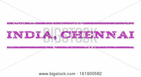 India, Chennai watermark stamp. Text caption between horizontal parallel lines with grunge design style. Rubber seal stamp with dust texture. Vector violet color ink imprint on a white background.