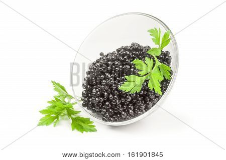 Black Beluga caviar isolated on a white background with clipping path