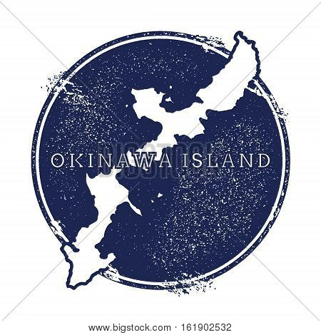 Okinawa Island Vector Map. Grunge Rubber Stamp With The Name And Map Of Island, Vector Illustration.