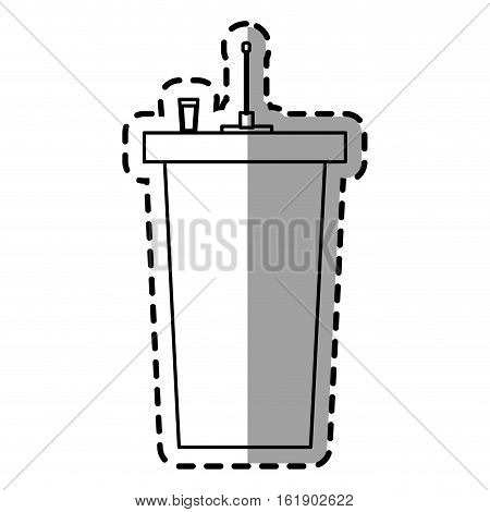 disposable glass plastic drink. Isolated design. Vector illustration