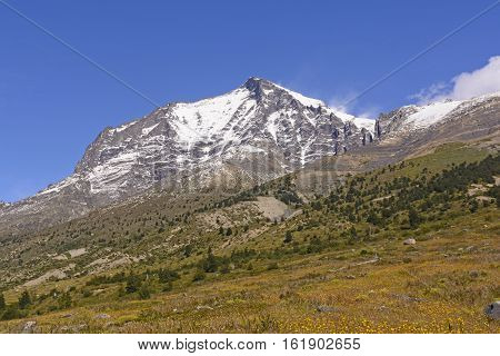 Admiral Nieto Peak in Torres del Paine National Park in Patagonian Chile