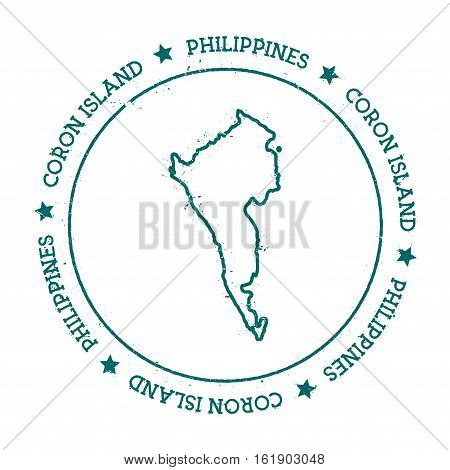 Coron Island Vector Map. Distressed Travel Stamp With Text Wrapped Around A Circle And Stars. Island