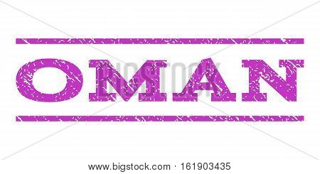 Oman watermark stamp. Text tag between horizontal parallel lines with grunge design style. Rubber seal stamp with dust texture. Vector violet color ink imprint on a white background.