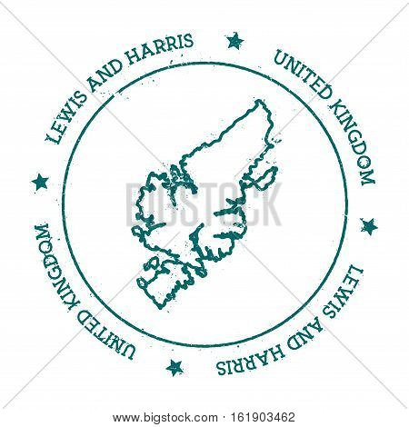 Lewis And Harris Vector Map. Distressed Travel Stamp With Text Wrapped Around A Circle And Stars. Is