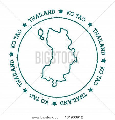 Ko Tao Vector Map. Distressed Travel Stamp With Text Wrapped Around A Circle And Stars. Island Stick