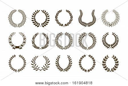 Laurel wreath set symbols or icons. Vector heraldic element collection and coat of arms isolated on white background