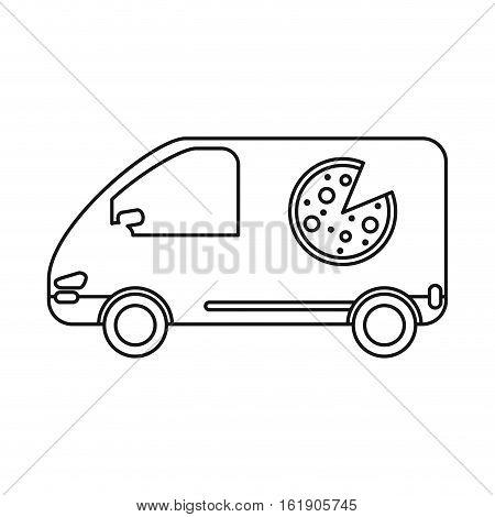 pizza delivery car van service outline vector illustration eps 10