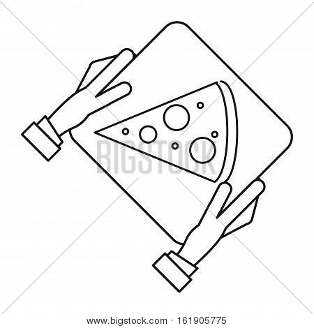 hand boy delivery box pizza outline vector illustration eps 10