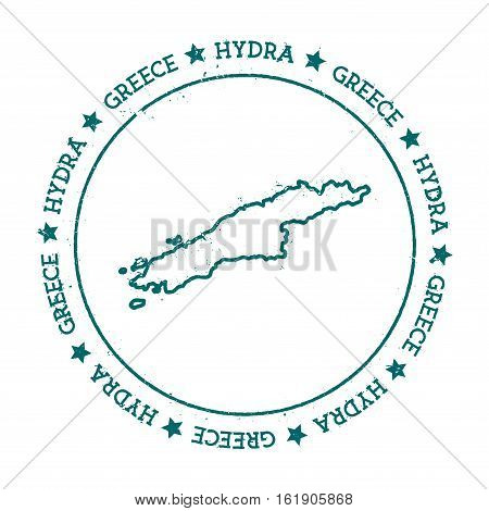 Hydra Vector Map. Distressed Travel Stamp With Text Wrapped Around A Circle And Stars. Island Sticke