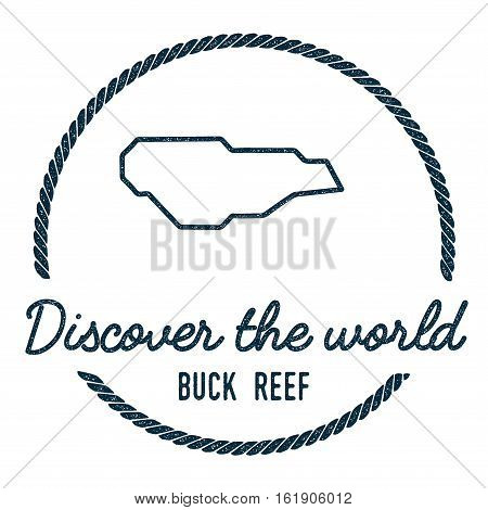 Buck Island Reef Map Outline. Vintage Discover The World Rubber Stamp With Island Map. Hipster Style