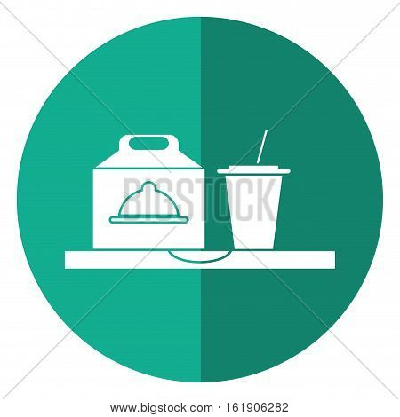 fast food take out box and plastic cup soda shadow vector illustration eps 10