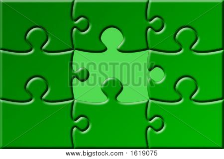 Green Missing Piece Puzzle