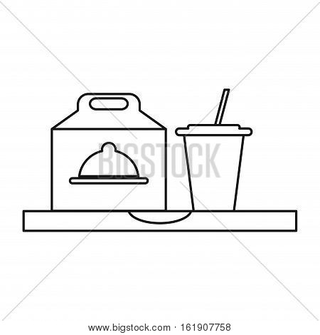 fast food take out box and plastic cup soda outline vector illustration eps 10
