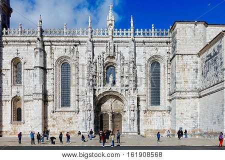 Lisbon, Portugal, November 20, 2016: A gate of the Jeronimos monastery at Lisbon in Portugal.