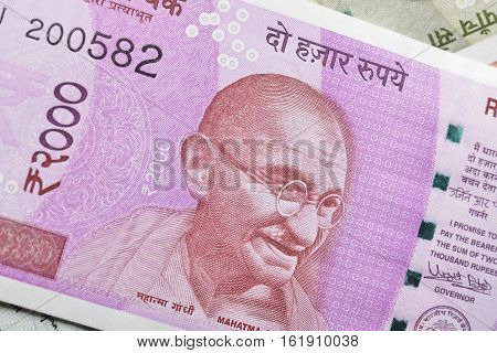 Indian Two Thousand Rupee Note with Mahatma Gandhi Portrait