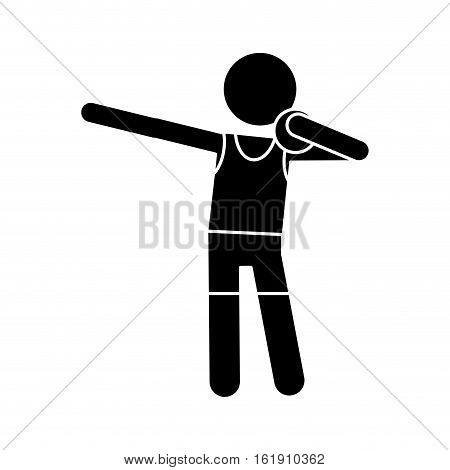 silhouette athletic shot put ball throwing vector illustration eps 10