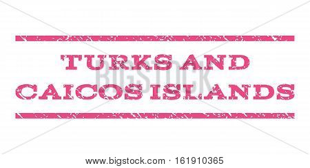 Turks and Caicos Islands watermark stamp. Text tag between horizontal parallel lines with grunge design style. Rubber seal stamp with dust texture. Vector pink color ink imprint on a white background.