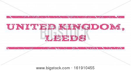 United Kingdom, Leeds watermark stamp. Text tag between horizontal parallel lines with grunge design style. Rubber seal stamp with dirty texture. Vector pink color ink imprint on a white background.