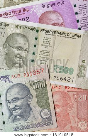 Close up of Indian Currency in Various Denomination