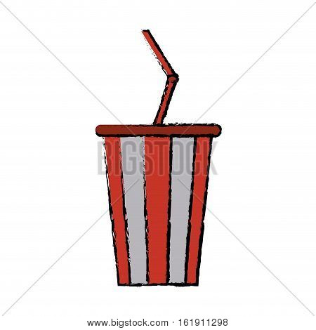 drawing plastic cup soda with straw drink american football vector illustration eps 10