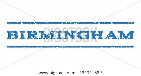 Birmingham watermark stamp. Text tag between horizontal parallel lines with grunge design style. Rubber seal stamp with unclean texture. Vector smooth blue color ink imprint on a white background.