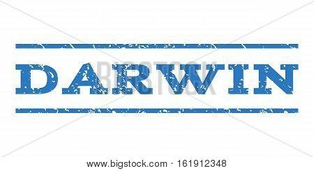 Darwin watermark stamp. Text caption between horizontal parallel lines with grunge design style. Rubber seal stamp with scratched texture. Vector smooth blue color ink imprint on a white background.