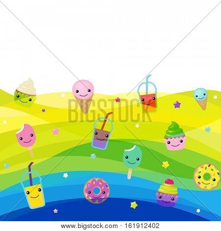 Sweets, With Gradient Mesh, Vector Illustration