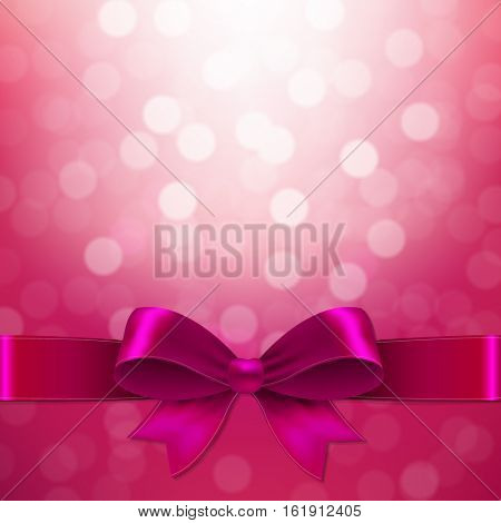 Pink Background With Bow, With Gradient Mesh, Vector Illustration