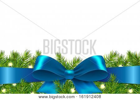 Blue Ribbon With Fir Tree, With Gradient Mesh, Vector Illustration