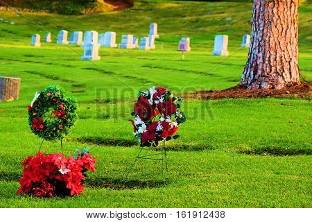 Cemetery with a manicured green lawn with headstones and Christmas decorations