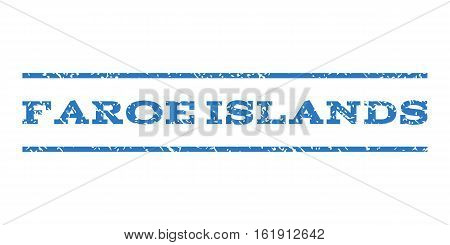 Faroe Islands watermark stamp. Text tag between horizontal parallel lines with grunge design style. Rubber seal stamp with dirty texture. Vector smooth blue color ink imprint on a white background.