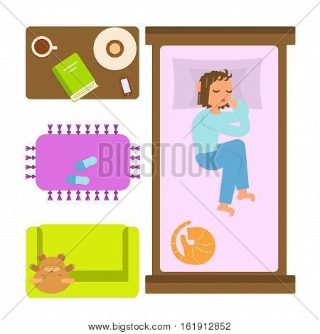 Bedroom with furniture overhead and sleeping woman. Top view Apartment plan. Isolated on white background. Flat style vector illustration for infographic