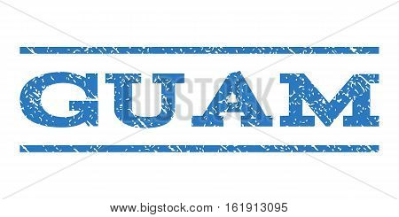 Guam watermark stamp. Text tag between horizontal parallel lines with grunge design style. Rubber seal stamp with dust texture. Vector smooth blue color ink imprint on a white background.