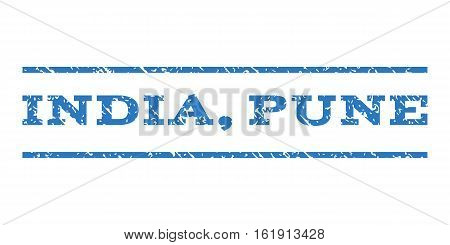 India, Pune watermark stamp. Text tag between horizontal parallel lines with grunge design style. Rubber seal stamp with dust texture. Vector smooth blue color ink imprint on a white background.